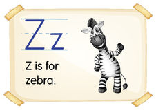Letter Z. Illustration of a flashcard with letter Z stock illustration