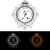 Letter Z. Luxury Logo template flourishes calligraphic elegant ornament lines. Business sign, identity for Restaurant, Royalty, Bo Stock Photos