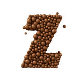 Letter Z made of chocolate bubbles, milk chocolate concept, 3d illustration.  vector illustration