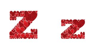 Letter Z, made from hearts. Letter Z, uppercase and lowercase of alphabet made from hearts Royalty Free Stock Photos