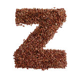 Letter Z made with Linseed also known as flaxseed isolated on wh Stock Images