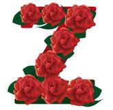 Letter Z red roses  illustration Royalty Free Stock Images
