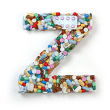 Letter Z. Set of alphabet of medicine pills, capsules, tablets a Stock Image