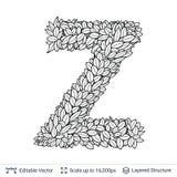 Letter Z symbol of white leaves. Royalty Free Stock Images