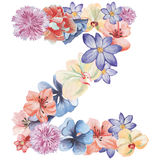 Letter Z of watercolor flowers, isolated hand drawn on a white background, wedding design, english alphabet.  Stock Photo