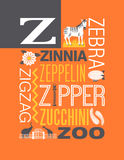 Letter Z words typography illustration alphabet poster design. Illustrated word typography design with the letter Z Stock Photography