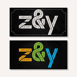 Letter Z and Y logo alphabet chalk icon set Stock Photo