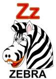 Letter Z zebra. Alphabet drawing for small school children Z zebra royalty free illustration
