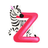 Letter Z with zebra animal for kids abc education in preschool. Zebra animal and letter Z for kids abc education in preschool.Cute animals letters english Royalty Free Illustration