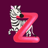 Letter Z with zebra animal for kids abc education in preschool. Zebra animal and letter Z for kids abc education in preschool.Cute animals letters english Vector Illustration