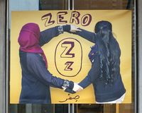 Letter Z for Zero, vinyl banner, Immigrant Alphabet Project, Philadelphia. Pictured is the Letter Z for Zero of the Immigrant Alphabet Project. The work was co stock photo