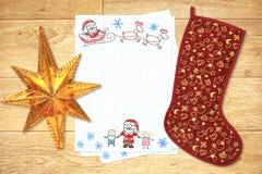 Lettera al Babbo Natale Immagini Stock