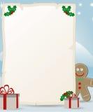 Lettera al Babbo Natale con l'uomo di pan di zenzero Fotografia Stock Libera da Diritti