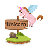 Lettera animale U di alfabeto per l'unicorno Fotografia Stock