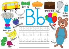 Lettera B Alfabeto inglese Pratica di scrittura per i bambini Scherza il gioco illustrazione vettoriale