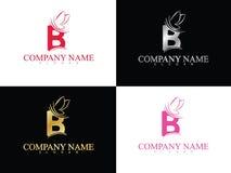 Lettera B dell'oro con il bello modello di logo dell'ala Fotografia Stock