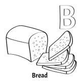 Lettera B, pagina di coloritura di alfabeto di vettore Pane Immagine Stock