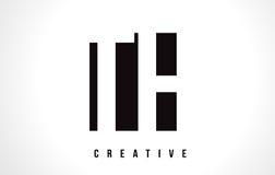 Lettera bianca Logo Design del TH T H con il quadrato nero Fotografie Stock Libere da Diritti