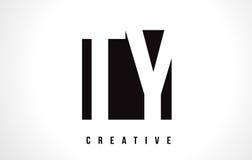 Lettera bianca Logo Design di TY T Y con il quadrato nero Fotografia Stock Libera da Diritti