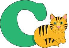 Lettera C con un gatto Fotografia Stock Libera da Diritti