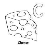 Lettera C, pagina di coloritura di alfabeto di vettore Formaggio Illustrazione di Stock