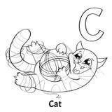 Lettera C, pagina di coloritura di alfabeto di vettore Gatto Royalty Illustrazione gratis