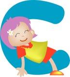 Lettera C (ragazza) di alfabeto illustrazione di stock