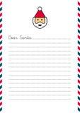 Lettera cara di Santa sulla carta intestata Immagini Stock