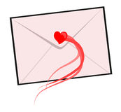 Lettera con cuore rosso Fotografia Stock Libera da Diritti