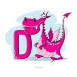 Lettera D con il drago divertente Fotografia Stock Libera da Diritti