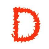 Lettera D del fuoco isolata su fondo bianco Fotografie Stock Libere da Diritti