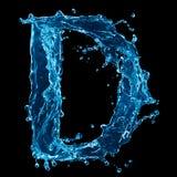 Lettera D dell'acqua sul nero Fotografia Stock Libera da Diritti