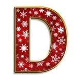 Lettera D di natale nel colore rosso Fotografie Stock Libere da Diritti