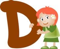 Lettera D (ragazza) di alfabeto illustrazione di stock