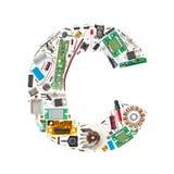 Lettera dei componenti elettronici illustrazione di stock