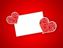 Lettera del biglietto di S. Valentino con cuore astratto rosso Fotografie Stock