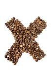 Lettera X del caffè isolato su bianco Immagini Stock Libere da Diritti