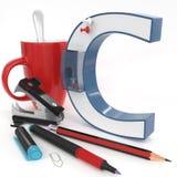 Lettera del ` 3d del ` C con la roba dell'ufficio Fotografia Stock Libera da Diritti