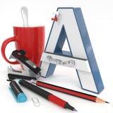 Lettera del ` 3d del ` A con la roba dell'ufficio Fotografia Stock Libera da Diritti
