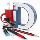 Lettera del ` 3d del ` D con la roba dell'ufficio Fotografia Stock