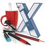 Lettera del ` 3d del ` X con la roba dell'ufficio Immagini Stock Libere da Diritti