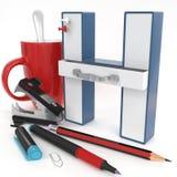 Lettera del ` 3d del ` H con la roba dell'ufficio Immagine Stock Libera da Diritti