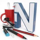Lettera del ` 3d del ` N con la roba dell'ufficio Fotografia Stock