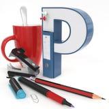 Lettera del ` 3d del ` P con la roba dell'ufficio Fotografia Stock Libera da Diritti