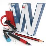 Lettera del ` 3d del ` W con la roba dell'ufficio Immagine Stock Libera da Diritti