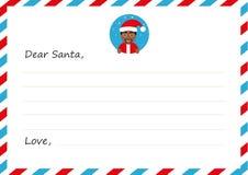 Lettera del ` s del nuovo anno della busta del modello all'Africano sveglio Santa Claus con l'icona Illustrazione di vettore Prog Fotografia Stock Libera da Diritti