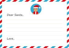 Lettera del ` s del nuovo anno della busta del modello all'asiatico sveglio Santa Claus con l'icona Illustrazione di vettore Prog Immagine Stock Libera da Diritti