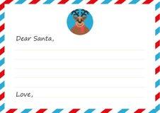 Lettera del ` s del nuovo anno della busta del modello a Santa Claus Cervi svegli Illustrazione di vettore Progettazione piana Immagine Stock
