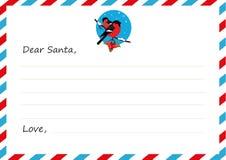Lettera del ` s del nuovo anno della busta del modello a Santa Claus Ciuffolotti dell'icona Illustrazione di vettore Progettazion Immagine Stock