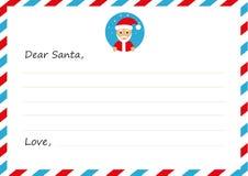 Lettera del ` s del nuovo anno della busta del modello a Santa Claus con l'icona Illustrazione di vettore Progettazione piana Immagini Stock